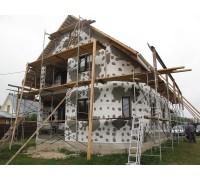 Отделка фасадов каркасного дома пенополистиролом с оштукатуриванием