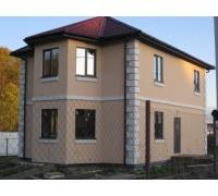 Дом из SIP-панелей, отделка фасада по плите OSB, приклейка пенопласта на клей-пену, система Ceresit