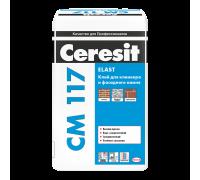 Эластичный клей Ceresit CM 117 для фасадной плитки, керамогранита и облицовочного камня, 25 кг